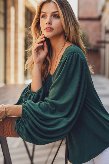 Brushed Cashmere Feel Hunter Green Top