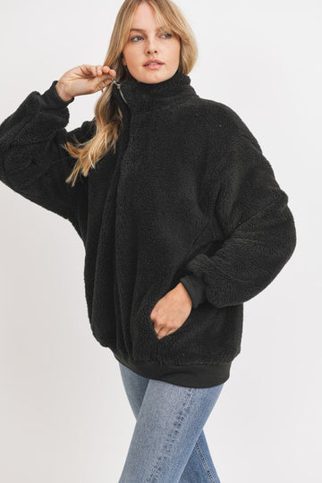 Black Faux Fur Pullover