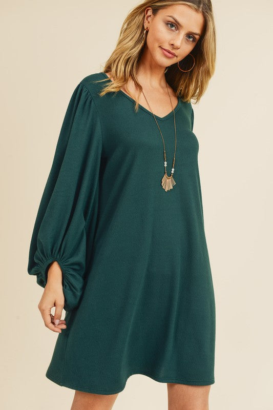 Hunter Green Bubble Sleeve Dress