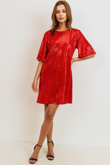 Lady in Red Sequin Dress