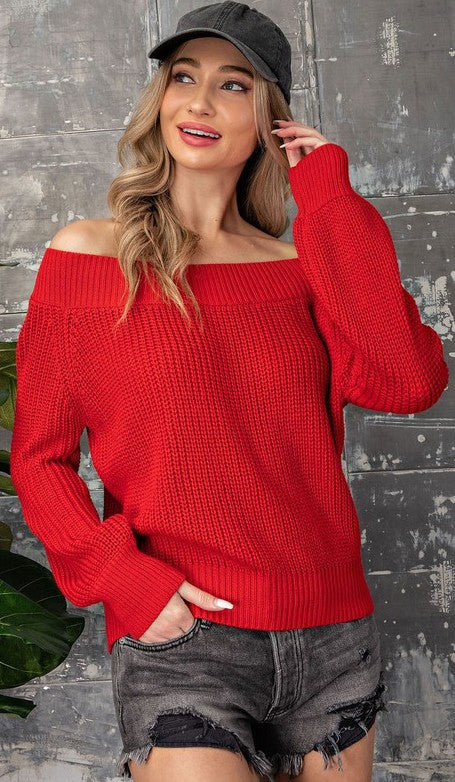Red Off Shoulder Balloon Sleeve Sweater