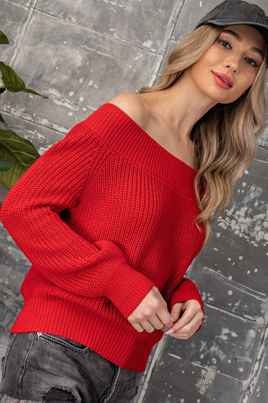 Everyday Classic Sweater In New Color This  ribbed off shoulder sweater has fun balloon sleeves and a relaxed fit that pairs beautifully with your favorite denim or pants. Poly/Lycra/PolM. Model is 5'8