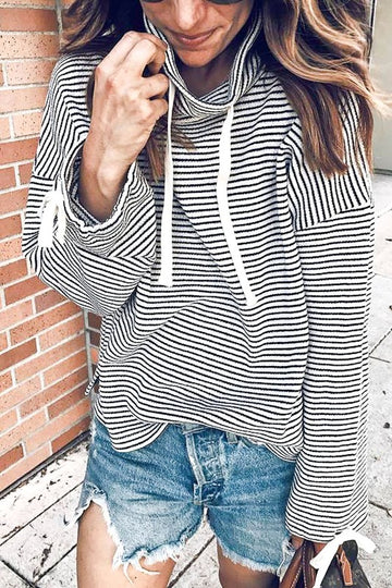 Black And White Drawstring Stripe Top