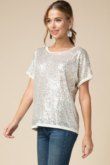 Gold Sequin Short Sleeve Party Top