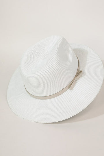 White Fedora Hat with Faux Suede Band