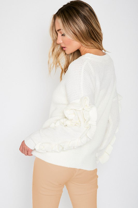 Ruffle Trim Sweater