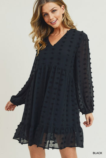 Day & Night Worthy Style This beautiful Swiss pattern polka dot chiffon dress has a v-neck and a ruffle hem line. Relaxed and easy fit.  Fully lined. Poly. Model is 5'8