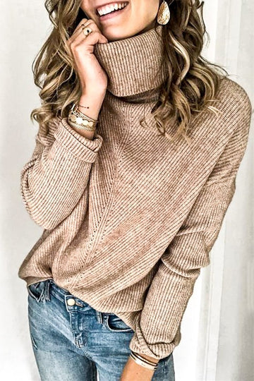 Mocha High Neck Sweater