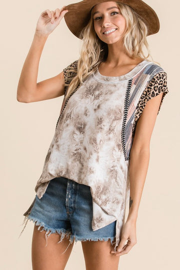 Tie Dye Mix Print Top