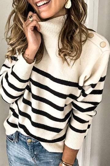 Ivory and Black Stripes Sweater