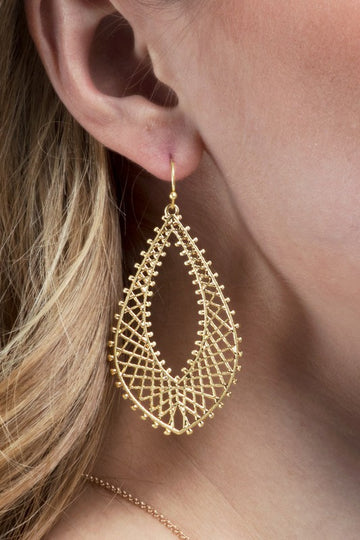 Cross Hatch Tear Drop Earring! This every day wearable accessory with a teardrop and modern cross hatch modern detailing is a great addition to your jewelry box for summer! Gold Tone.   Fish Hook Back Lightweight 2