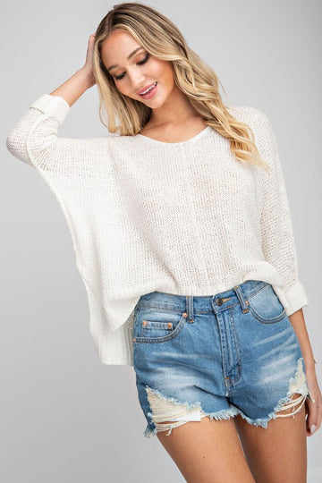 This cute and cozy off white sweater is one you can wear all the way into summer! A simple but chic crew neck that is comfy and cute! Model is a size 2 and 5'8