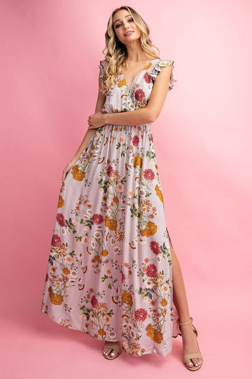 Floral And Ruffle Maxi Dress