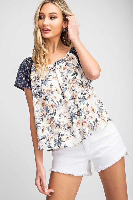 Tie Back Mix Print Top
