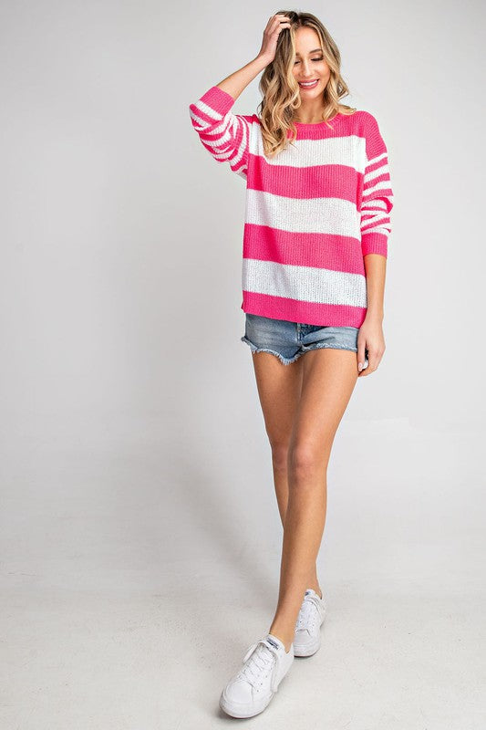 Pink Knit Striped Sweater