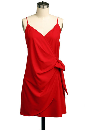 Lovely Lady in Red Dress Stand out in the crowd in this beautiful and classically sophisticated side tie red dress. A sleek silhouette makes this dress great for any occasion! Poly/Span. Red Only. Other color shown for fit. ModeI is 5'9