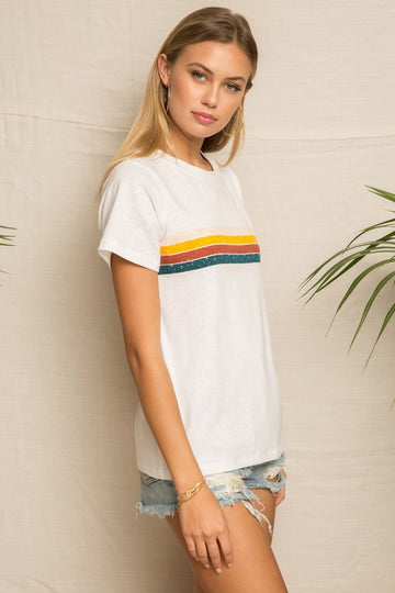 Casual and cute style in this versatile vintage rainbow tee that you can wear with your joggers, jeans and shorts. Poly/Rayon/Span Model is 5'9