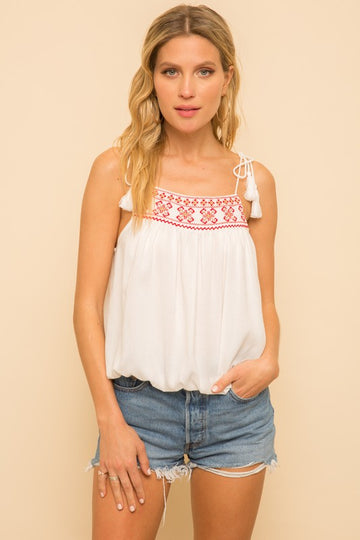 Tassel Embroidered Tank Top
