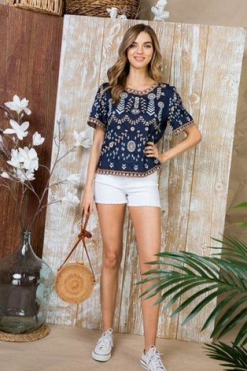 Navy Embroidered Resort Top
