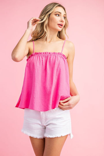 Stay Cool in a Hot Pink Tank Top  Throw this lettuce trim tank top on with your favorite jeans or shorts for an easy and comfortable effortless style. Relaxed fit. Cotton/Rayon. Model is 5'8