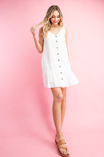Off White Button Dress