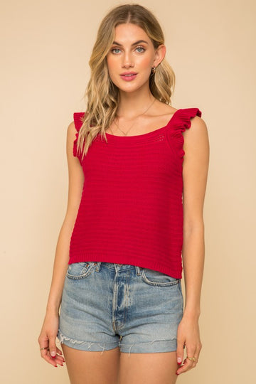 Flutter Sleeve Red Knit Top