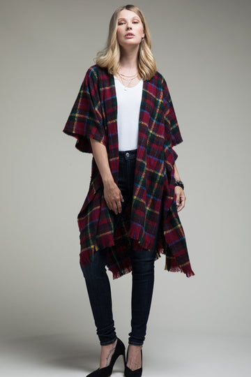Plaid Kimono Cardigan For Fall Throw this open plaid kimono cardigan on with your favorite tee and jeans for easy and low key cool fall style. Poly. Model is approx 5'9