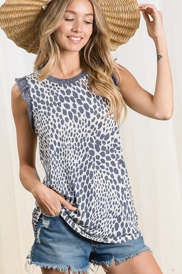 Navy Animal Print Top Check out the cute ruffle sleeve details in this navy animal print top! Throw it on with your favorite jeans or shorts for an easy and effortless summer style. Poly/Span Model is 5'9