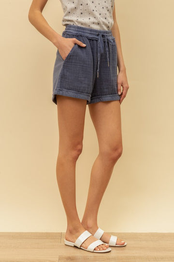 These extra comfy drawstring shorts are a soft cotton knit that you can wear anytime. Model is 5'8