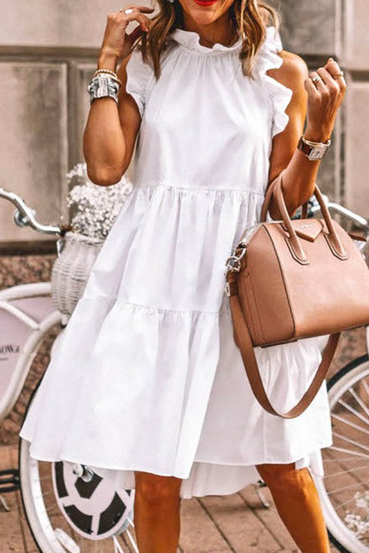 White Ruffle Tiered Dress