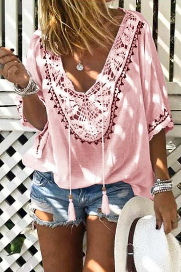 Dusty Pink Crochet Top