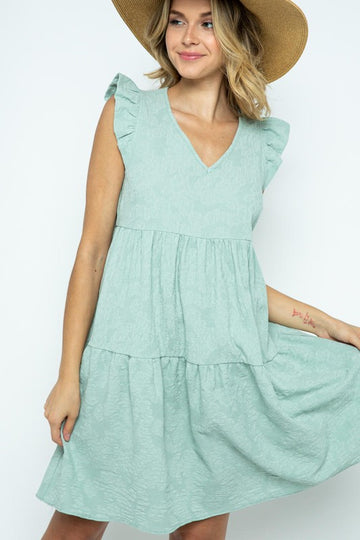 Sky Blue Ruffle Texture Dress