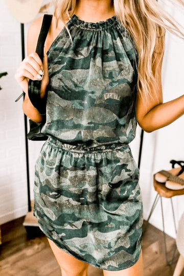 Camo Ruffle Neck Dress