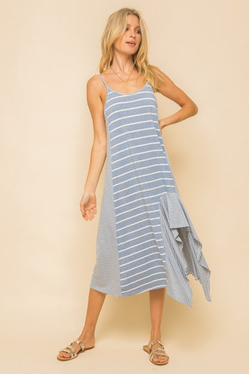 Light Blue Mix Stripe Maxi Dress
