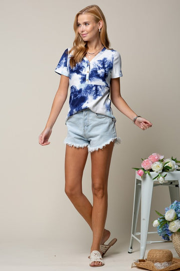 Navy Tie Dye Button Top