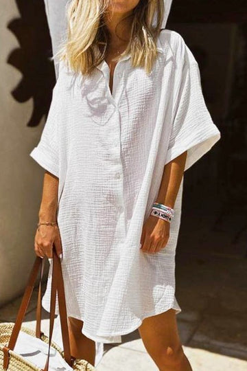 White Button Down Beach/Pool Coverup Dress