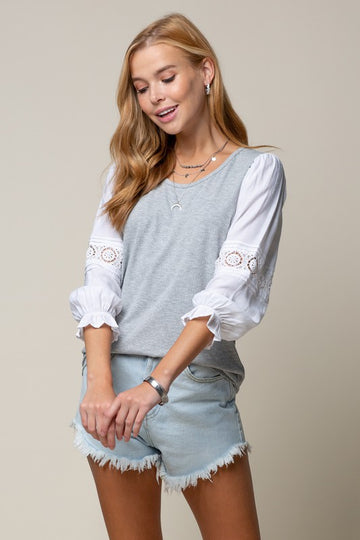 Gray Lace Sleeve Top-2