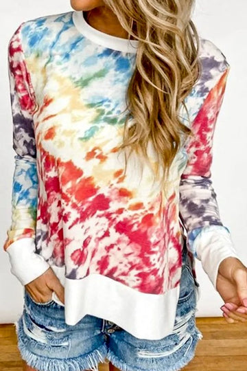 Tie Dye Long Sleeve  This multi color ombre styled tie dye long sleeve top is so cute with your jeans or shorts and adds some fun and color into your wardrobe! Cotton/Poly Blend. Model is approx 5'8 wearing a size small.  Contrast White Band Relaxed Fit Relaxed Fit Tie Dye Ombre Pattern Side Slit  This Bright Tie Dye Long Sleeve Top ships FREE in EO August/Early Sept.  being yourself is the key!