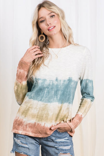 Fall Tie Dye Love! An easy and effortlessly cute long sleeve teal tie dye top you can throw on with all your favorite denim! Cotton. Model is 5'9