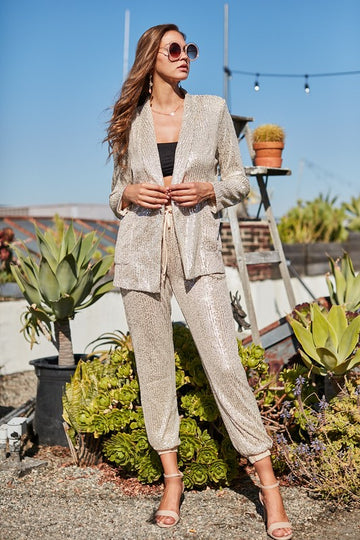 Jogger Suit Set for Holidays! Turn heads in this chic and sophisticated champagne sequin jogger suit set! Wear then together or mix them up whenever you like. Poly/Span. Model is 5'10