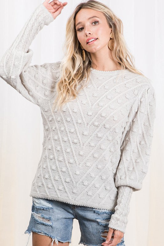 Stone Cable Knit Pom Sweater