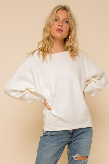 White Button Back Sweater