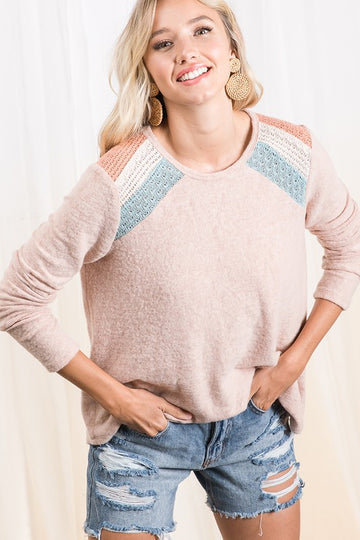 Brushed Color Block Top