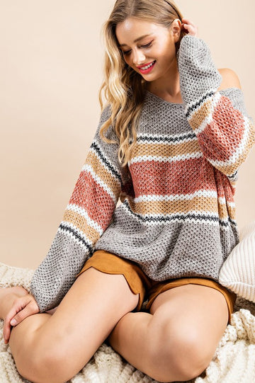 Rust Knit Striped Sweater