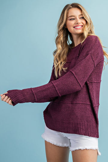 Eggplant Tiered Sweater