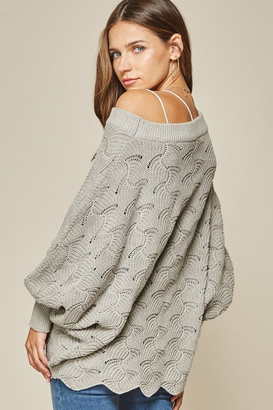 Oversized Gray Scallop Hem Sweater