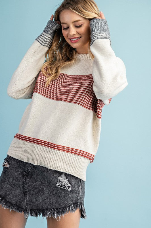 Rust Stripes Fall Sweater