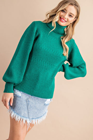 Green Puff Sleeve Sweater