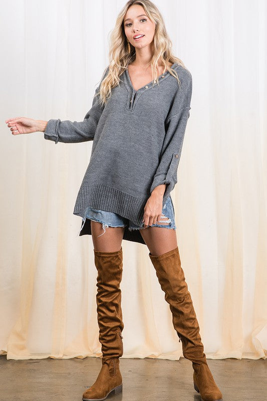 Charcoal Roll Up Sleeve Tunic