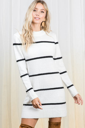 White & Black Sweater Dress
